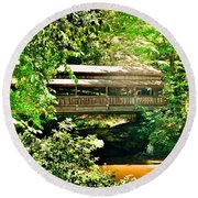 Covered Bridge At Lanterman's Mill Round Beach Towel