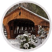 Covered Bridge At Olmsted Falls-winter-2 Round Beach Towel