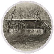 Covered Bridge In Black And White Round Beach Towel