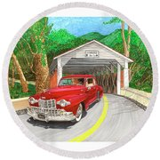 Covered Bridge Lincoln Round Beach Towel