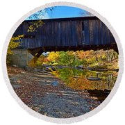 Covered Bridge Over The Cold River Round Beach Towel