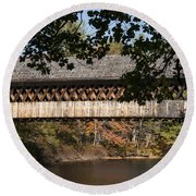 Covered Bridge Over The Contoocook River Round Beach Towel