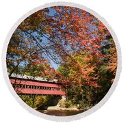 Covered Bridge Over The Swift River In Conway Round Beach Towel