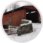 Covered Bridge Over The Wissahickon Creek Round Beach Towel by Bill Cannon