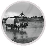 Covered Wagon River Ford And Cable Ferry 1903 Round Beach Towel