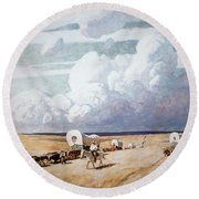 Covered Wagons Heading West Round Beach Towel