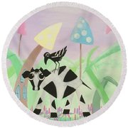 Cow And Crow In The Land Of Mushrooms Round Beach Towel