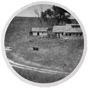 Cow At The Homestead Round Beach Towel by Mary Lee Dereske
