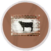 Cow Cuts Round Beach Towel