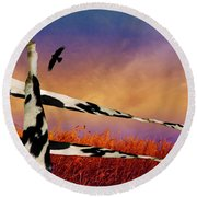 Cow Fence Round Beach Towel
