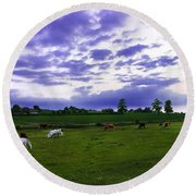 Cow Field Round Beach Towel