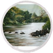Cow Habitant Round Beach Towel