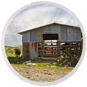 Cow In The Pasture Round Beach Towel