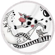 Cow Jumps Over The Moon Round Beach Towel