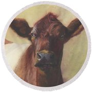 Cow Portrait IIi - Pregnant Pause Round Beach Towel