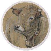 Cow Portrait Painting Round Beach Towel