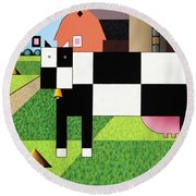 Cow Squared With Barn Big Round Beach Towel