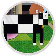 Cow Squared With Barn Left Round Beach Towel