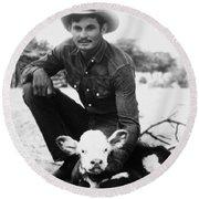 Cowboy, 20th Century Round Beach Towel