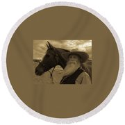 Cowboy And His Horse Round Beach Towel