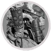 Cowboy And Six Shooter Bw Round Beach Towel