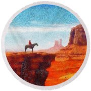 Cowboy At Monument Valley In Utah - Da Round Beach Towel