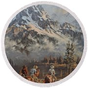 Cowboy Cathedral Round Beach Towel
