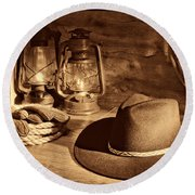 Cowboy Hat And Kerosene Lanterns Round Beach Towel