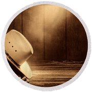 Cowboy Hat In The Old Barn Round Beach Towel