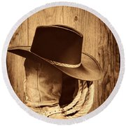 Cowboy Hat On Boots Round Beach Towel