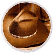 Cowboy Hat - Sepia Round Beach Towel