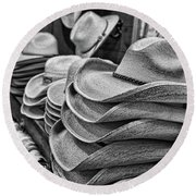 Cowboy Hats Black And White Round Beach Towel