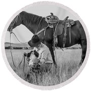Cowboy, His Horse And Dog Round Beach Towel