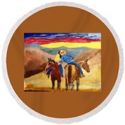 Cowboy Kisses Cowgirl Round Beach Towel