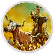 Cowboy Lassoing Cattle  Round Beach Towel by Angus McBride