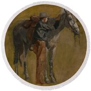 Cowboy - Study For Cowboys In The Badlands Round Beach Towel