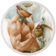 Cowboy Watercolor Round Beach Towel