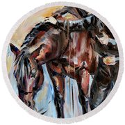 Cowboy With His Horse Round Beach Towel