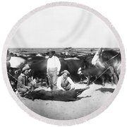 Cowboys Branding Cattle C. 1900 Round Beach Towel