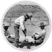 Cowboys: Branding Cattle Round Beach Towel