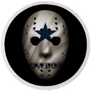 Cowboys War Mask 3 Round Beach Towel