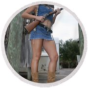 Cowgirl 019 Round Beach Towel