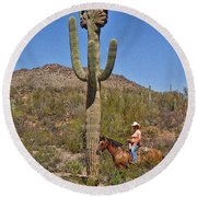 Cowgirl And The Crested Saguaro Round Beach Towel