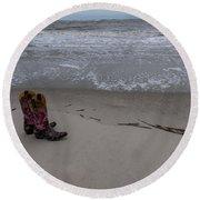 Cowgirl Day At Beach Round Beach Towel