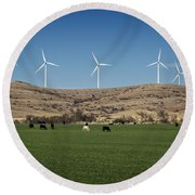 Cows And Windmills Round Beach Towel