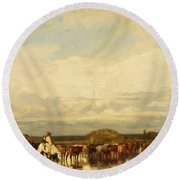 Cows Crossing A Ford 1836 Round Beach Towel