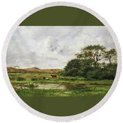 Cows In A Meadow Round Beach Towel
