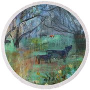 Cows In The Olive Grove Round Beach Towel