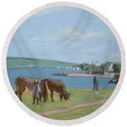 Cows On The Banks Of The Seine At Saint Mammes Round Beach Towel