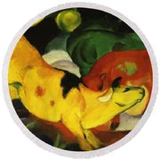 Cows Yellow Red Green 1912 Round Beach Towel